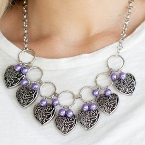 Silver Heart Charm Necklace Purple Pearl Beads